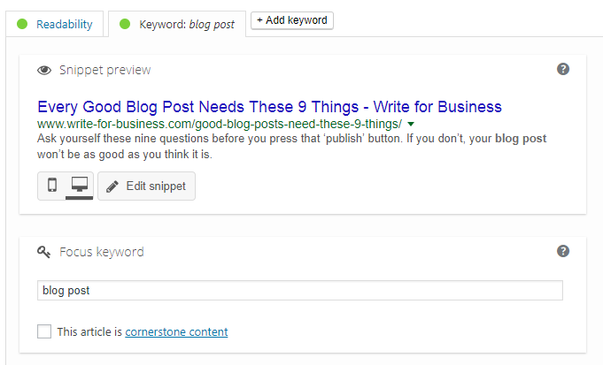 Example of a meta description in WordPress